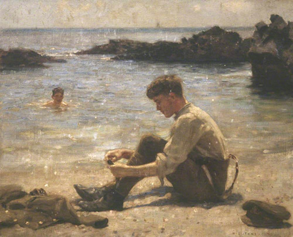 A Cadet on Newporth Beach, near Falmouth with Another Boy in the Sea