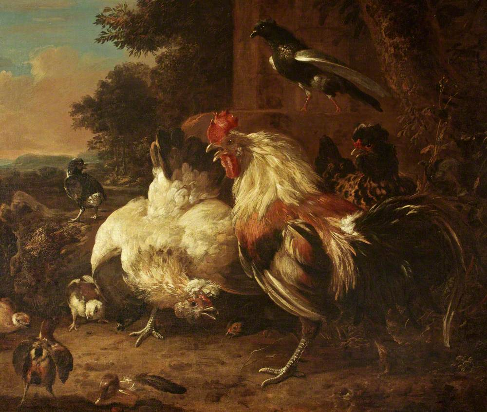 A Cock and Two Hens, with Chicks, in a Landscape Setting