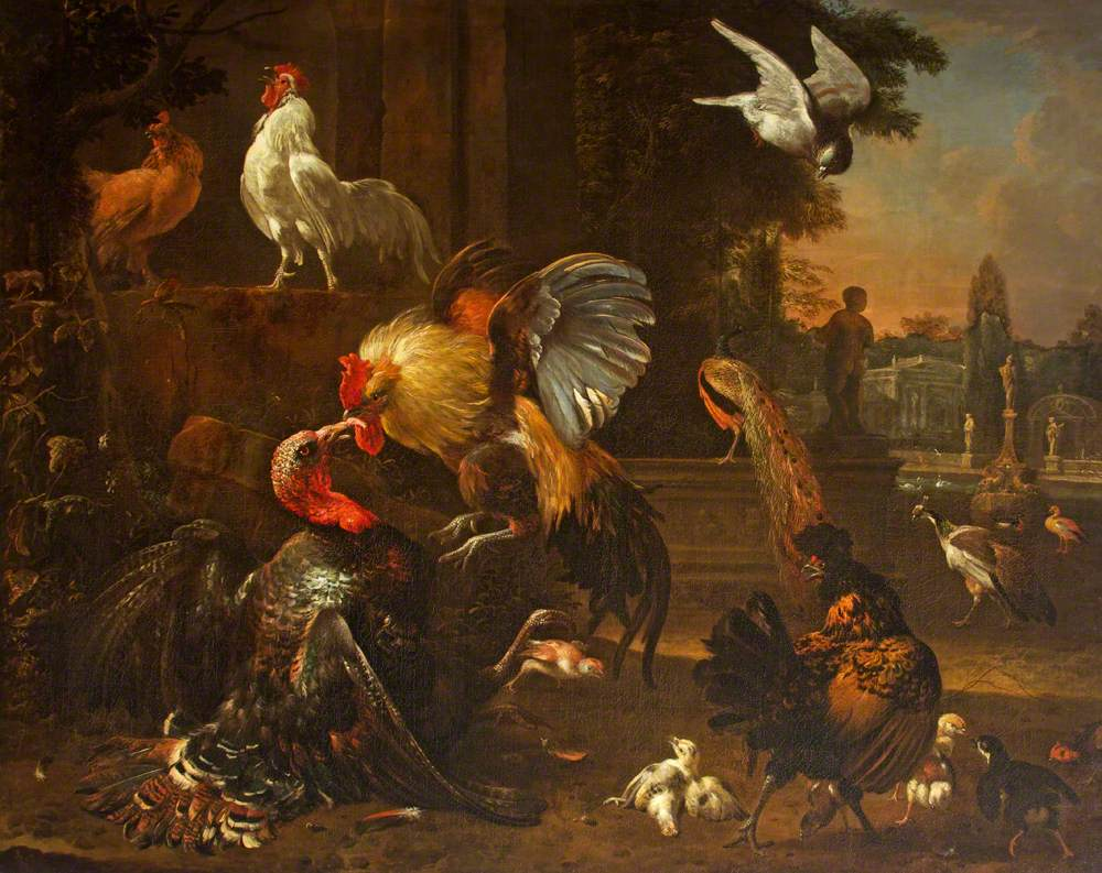 A Cock and Turkey Fighting, in a Park Setting, with Other Fowl