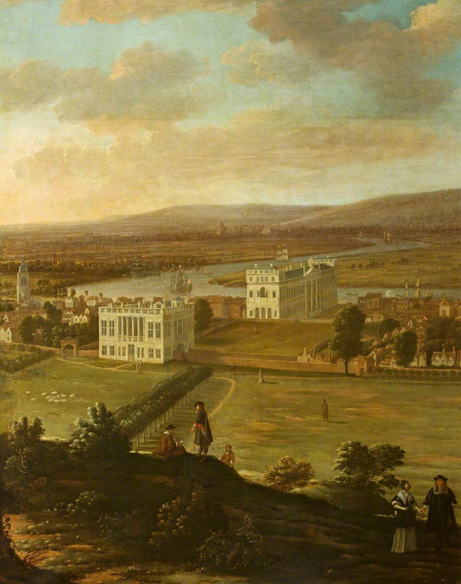 View of the Queen's House and Greenwich Palace from One Tree Hill