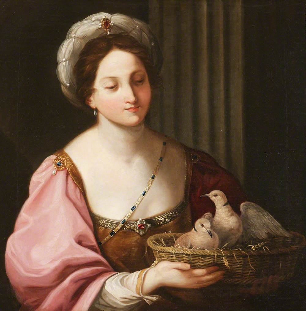 A Young Woman with a Basket of Doves