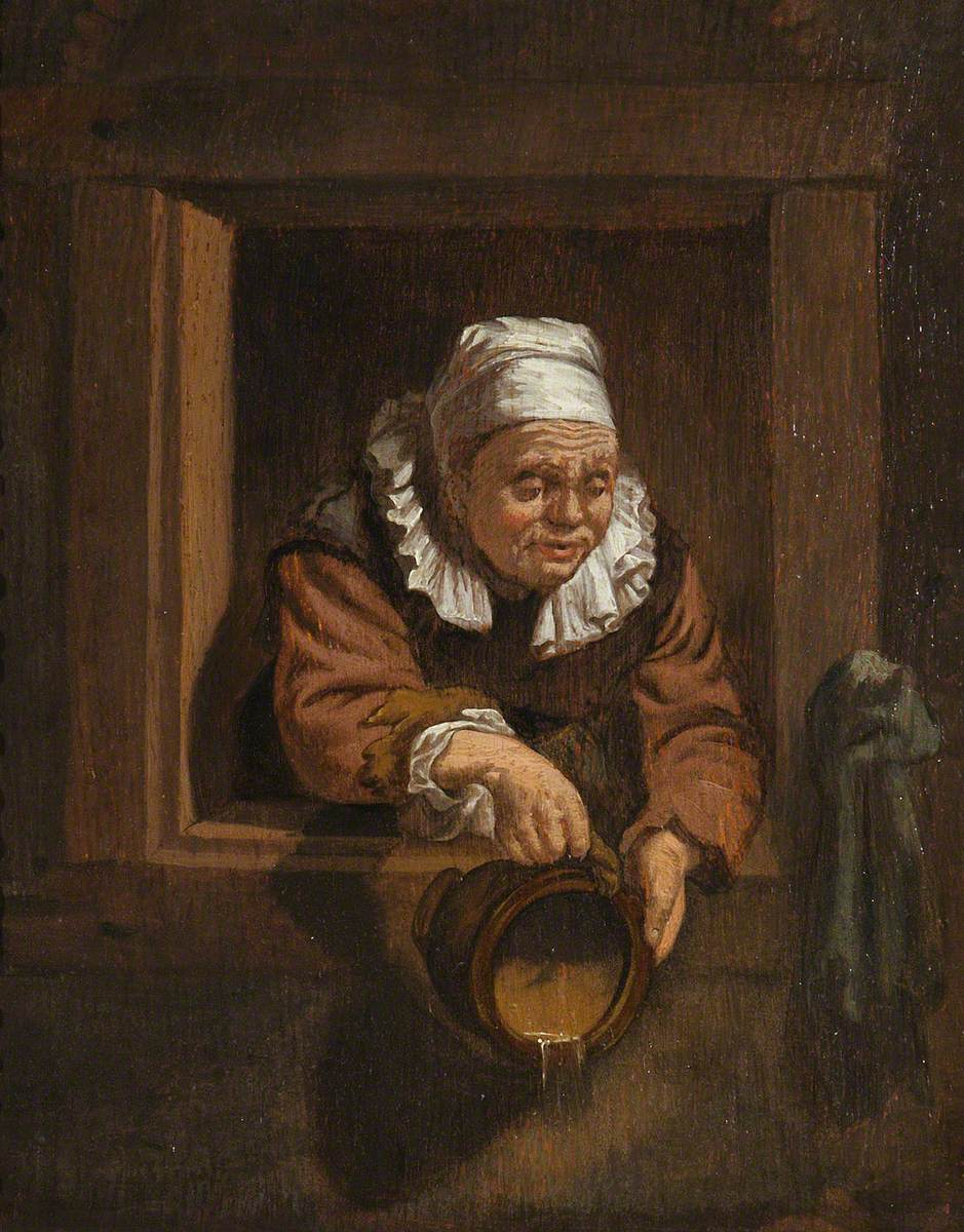 An Old Woman at a Window, Emptying a Chamber Pot