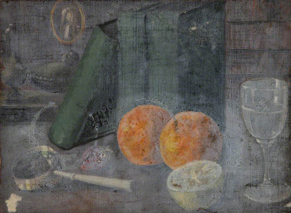 Still Life with Oranges, Books and a Wineglass