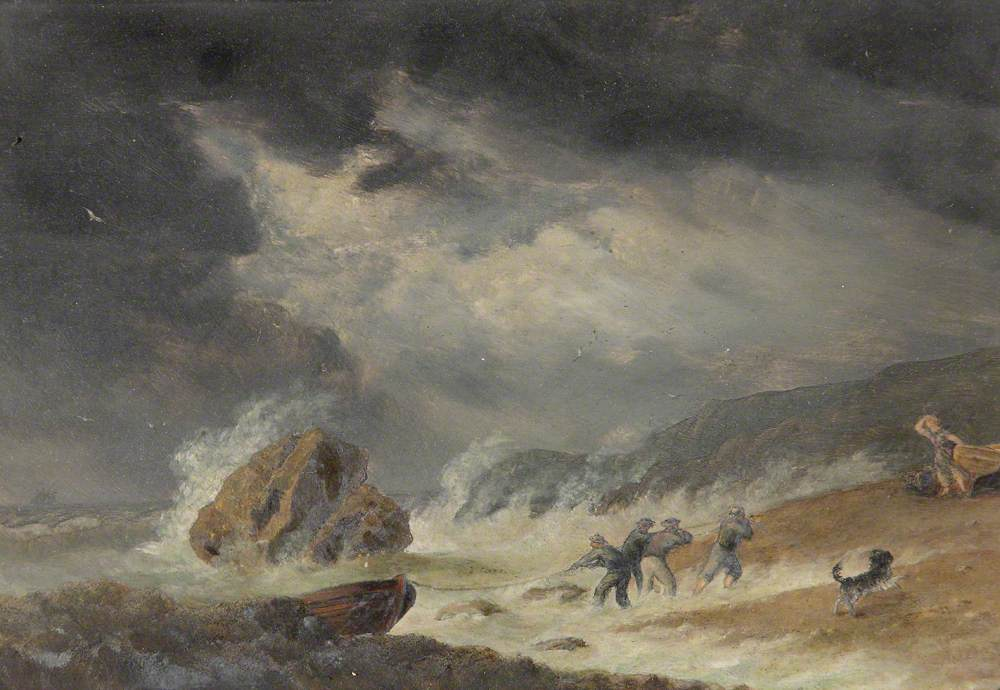 Men Hauling in a Boat on a Beach in Stormy Weather