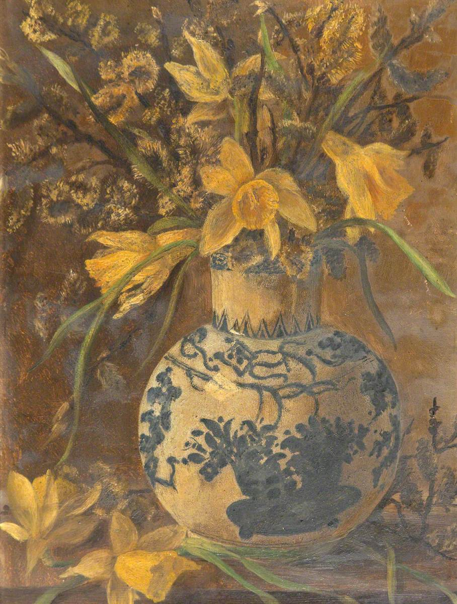 Still Life of Daffodils in a Blue and White Vase