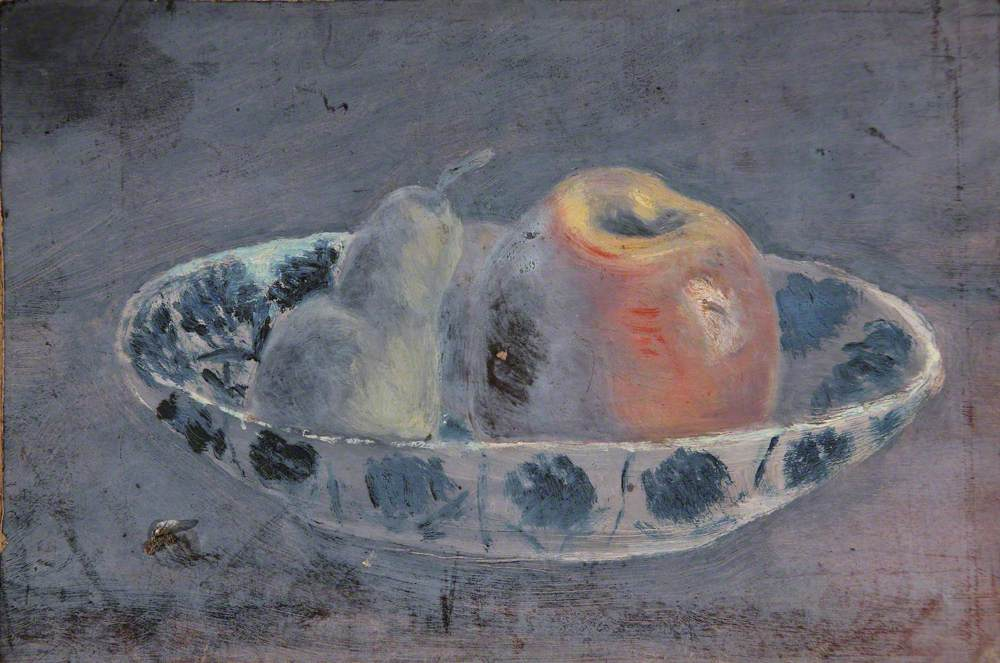 Still Life of an Apple and a Pear in a Bowl