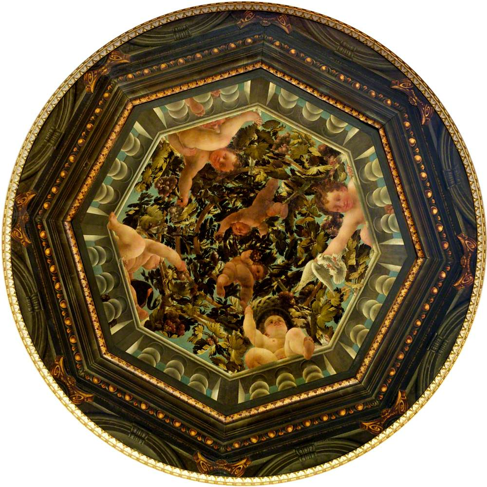Illusionistic Trelliswork Cupola with Disporting Putti