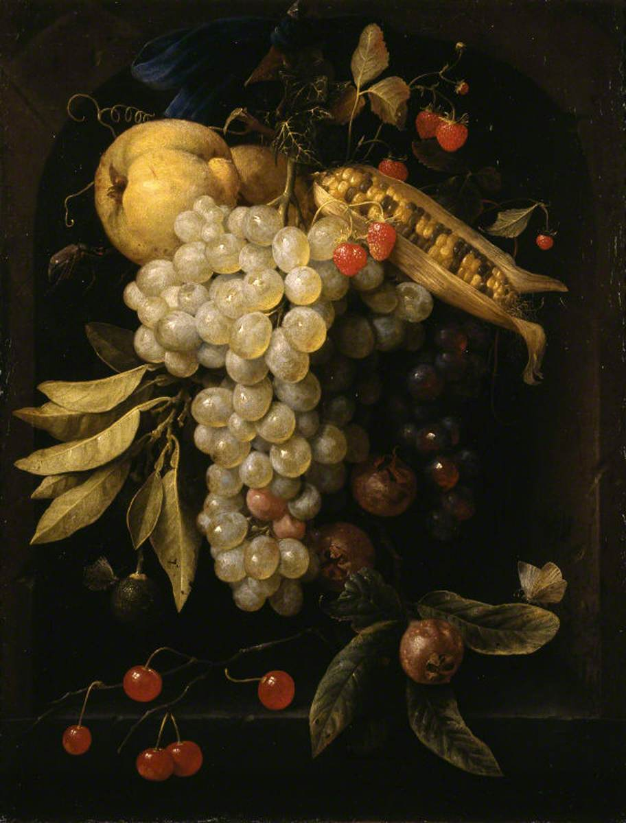 Fruit and Corn Hanging by a Ribbon