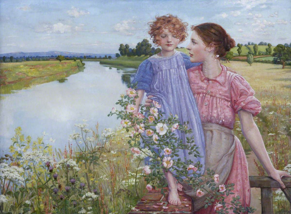 A Mother and Child by a River, with Wild Roses