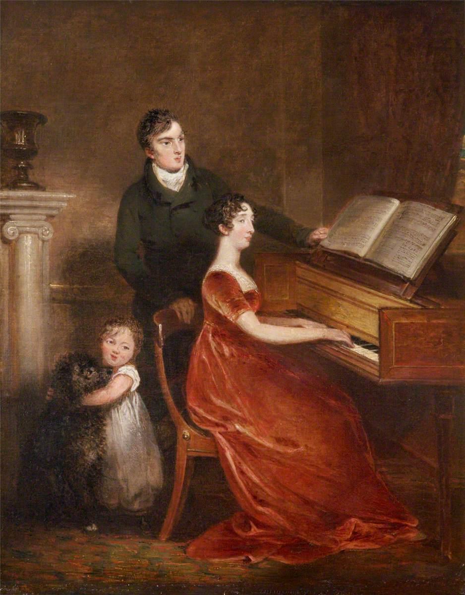 Sir Thomas Dyke Acland (1787–1871), 10th Bt, MP, His Wife Lydia Elizabeth Hoare (1786–1856), and Their Son, Later Sir Thomas Dyke Acland (1809–1898), 11th Bt