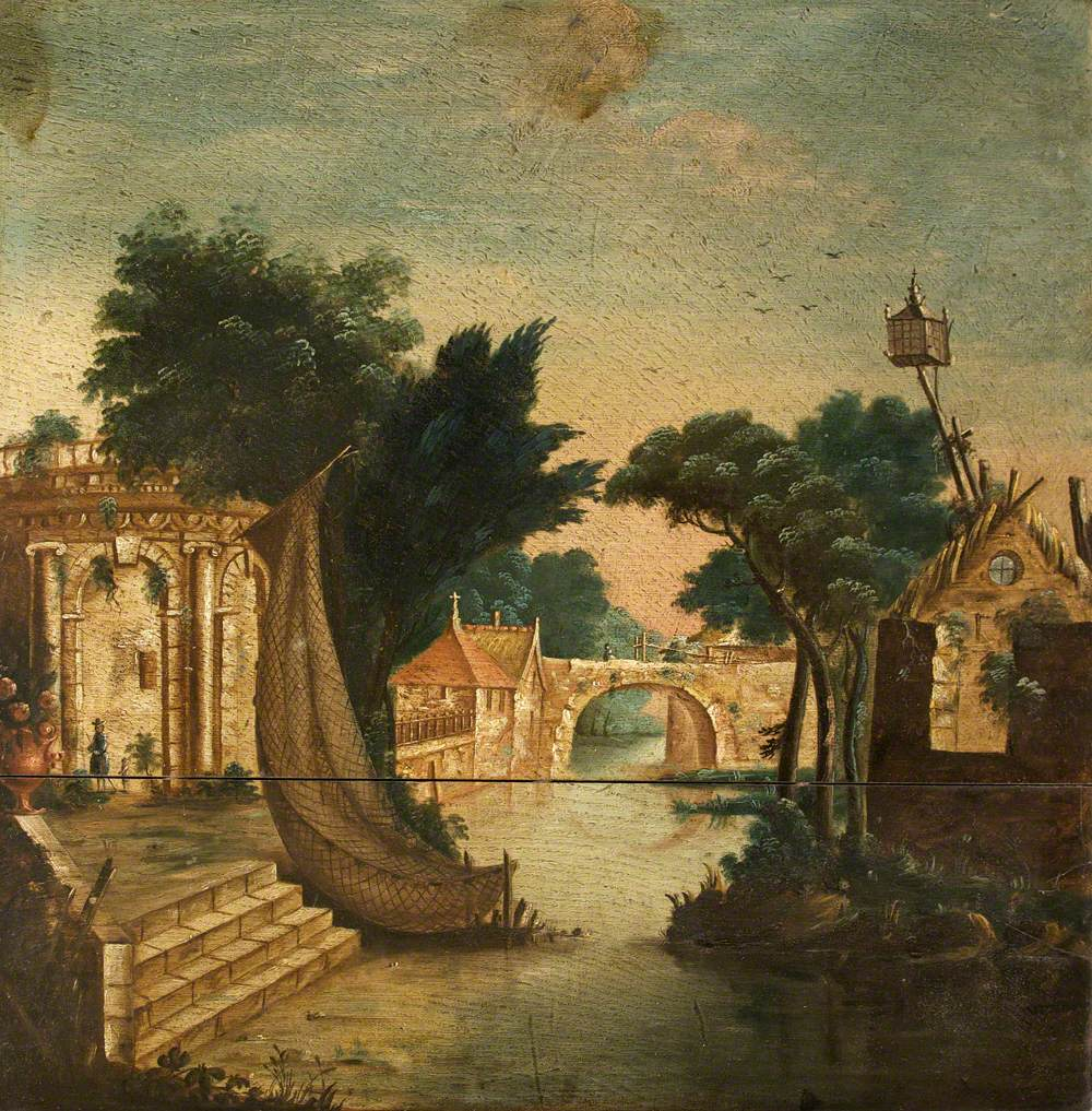 River Scene with a Temple, Houses and Bridge