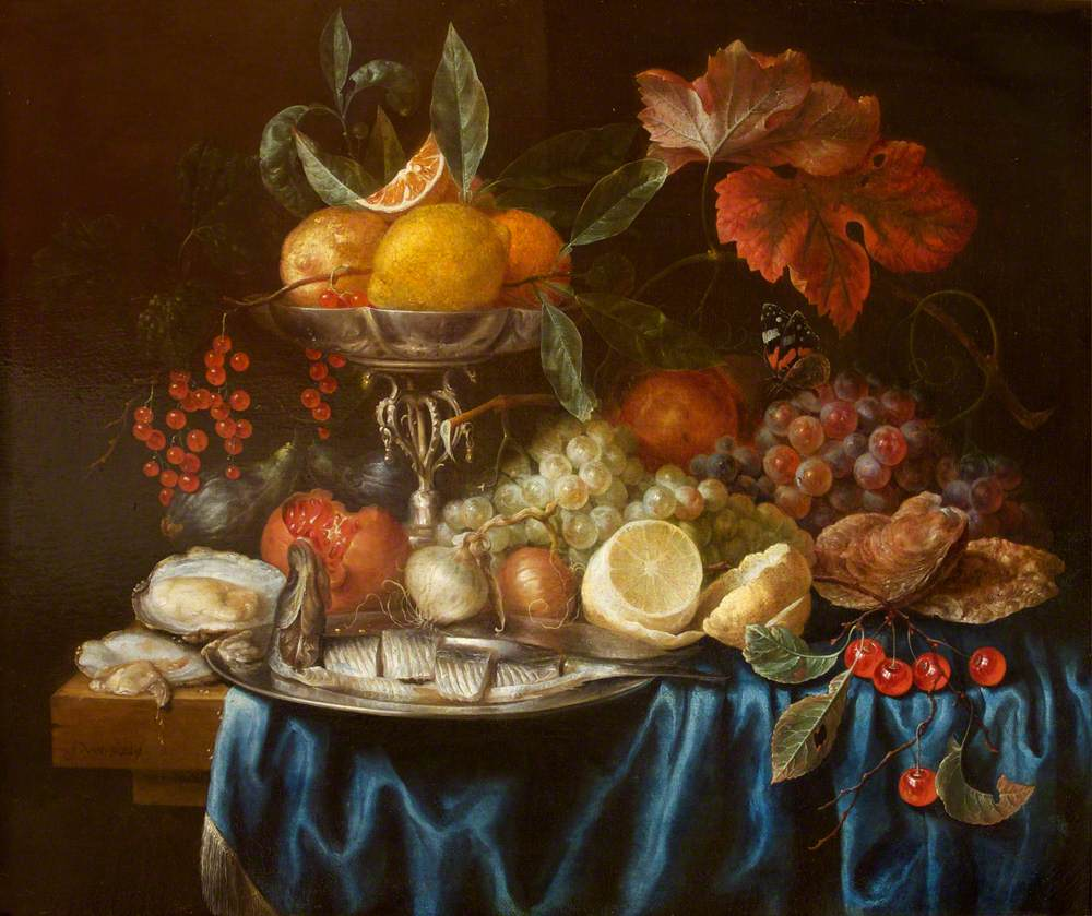 Fruit and a Herring on a Table