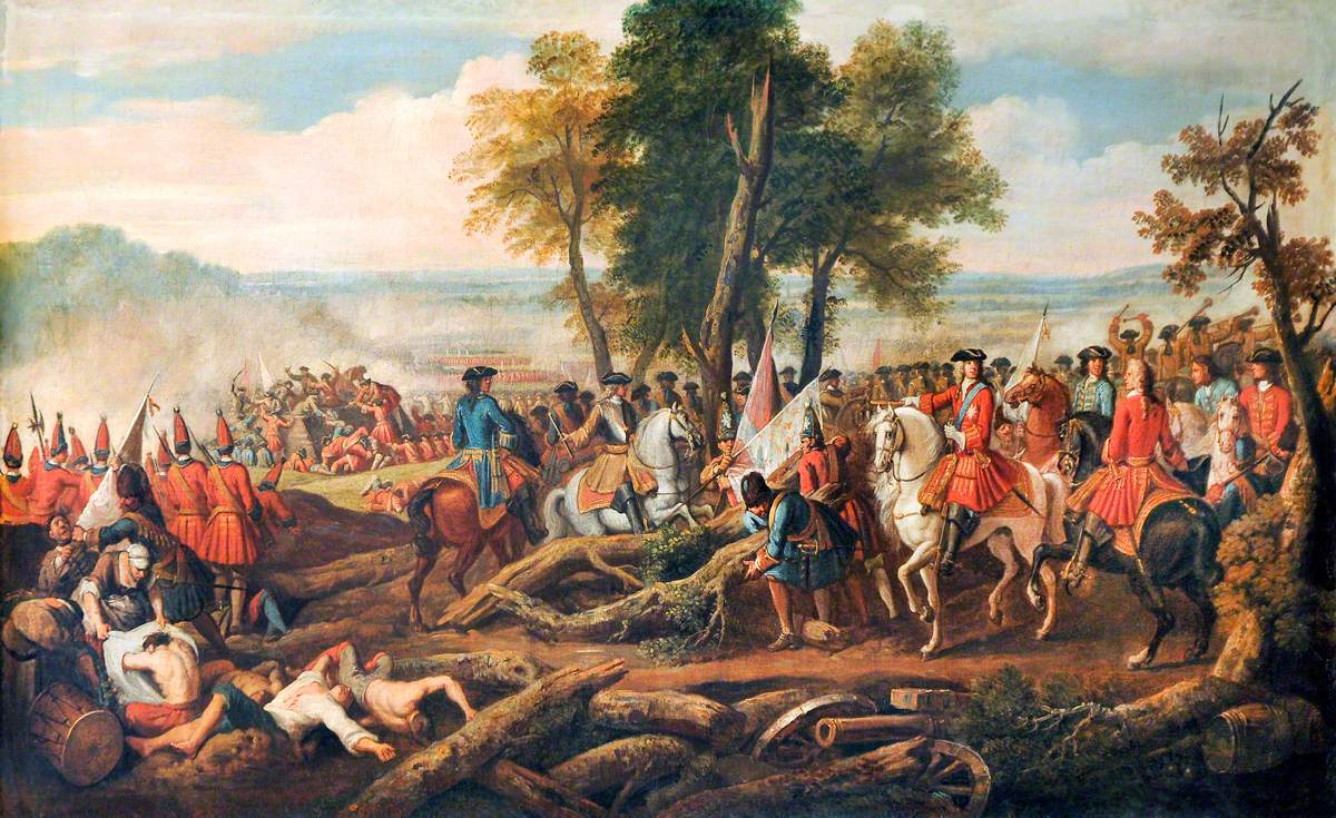 The Battle of Malplaquet (Tanières), 1709: The Duke of Marlborough and Prince Eugene Entering the French Entrenchments