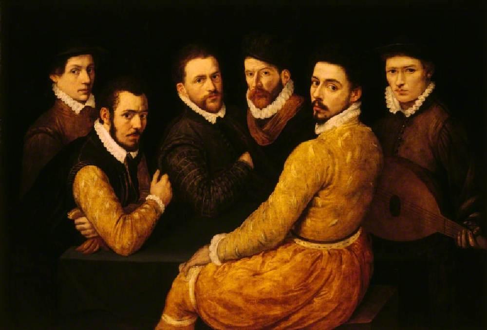 A Group of Six Men, including a Self Portrait (?)