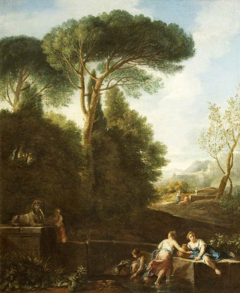 Classical Landscape with Figures by a Fountain
