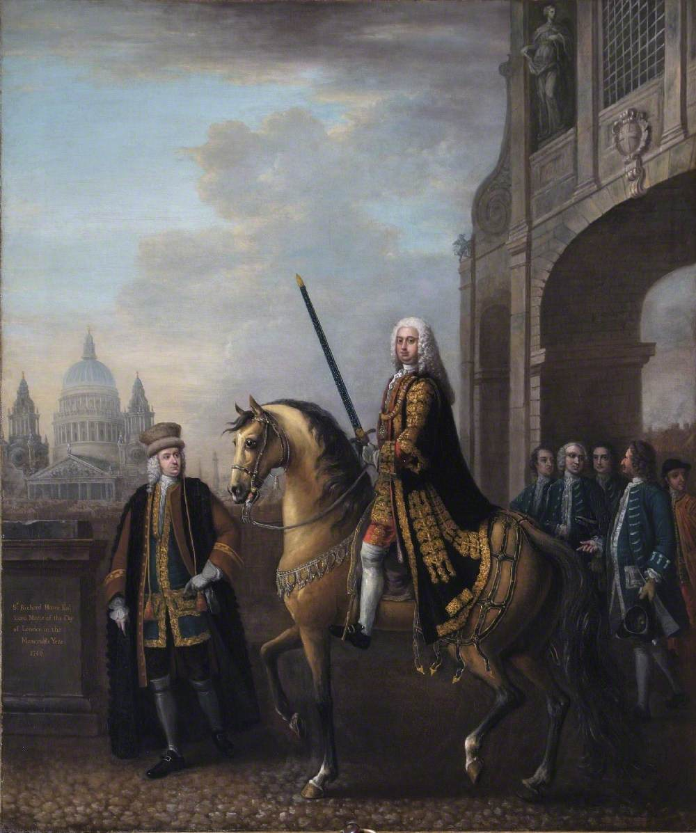 Equestrian Portrait of Sir Richard Hoare II (1709–1754), as Lord Mayor of London, at Temple Bar