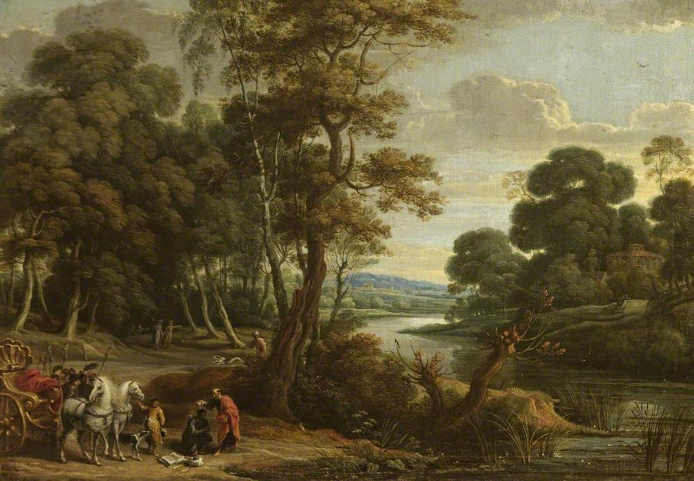 A Wooded River Landscape with Saint Philip