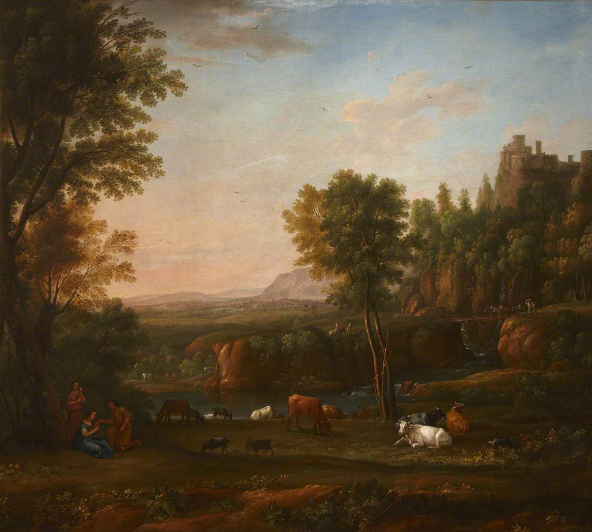 A Wooded River Landscape with a Piping Shepherdess, Cattle and Goats