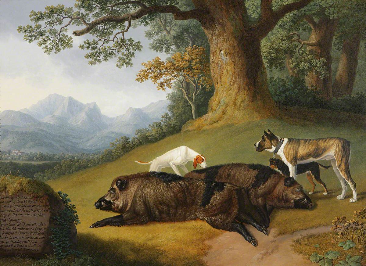 Two Views of a Dead Boar with a Mastiff and Two Other Dogs