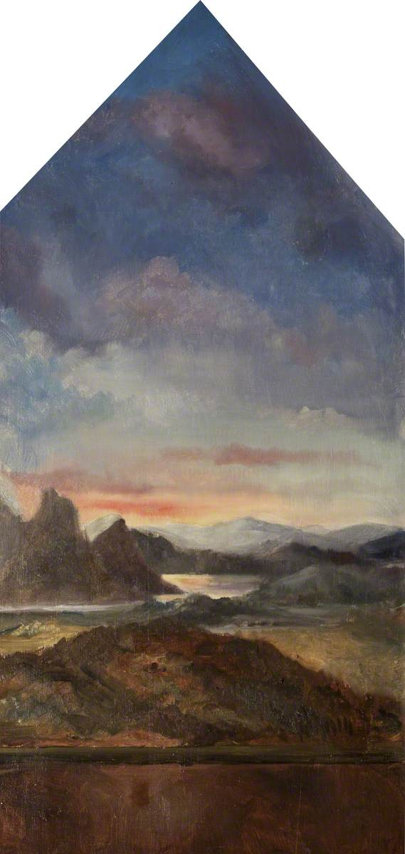 Evening Landscape with a River and Mountains