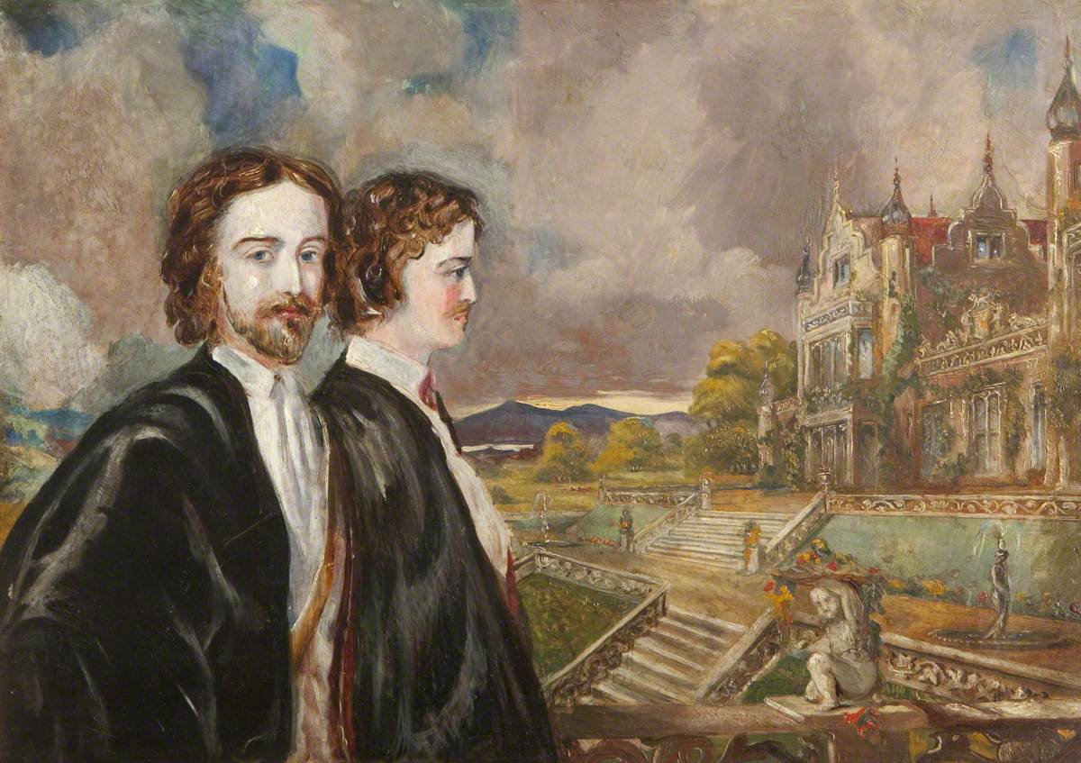 Henry Ferrers Croxon (1848–1923), Later Ferrers Ferrers, and Marmion Edward Ferrers (1813–1884), in the Grounds of Merevale Hall, Warwickshire