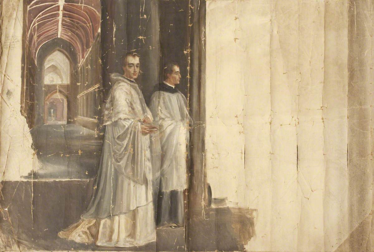 Two Priests in front of a Church