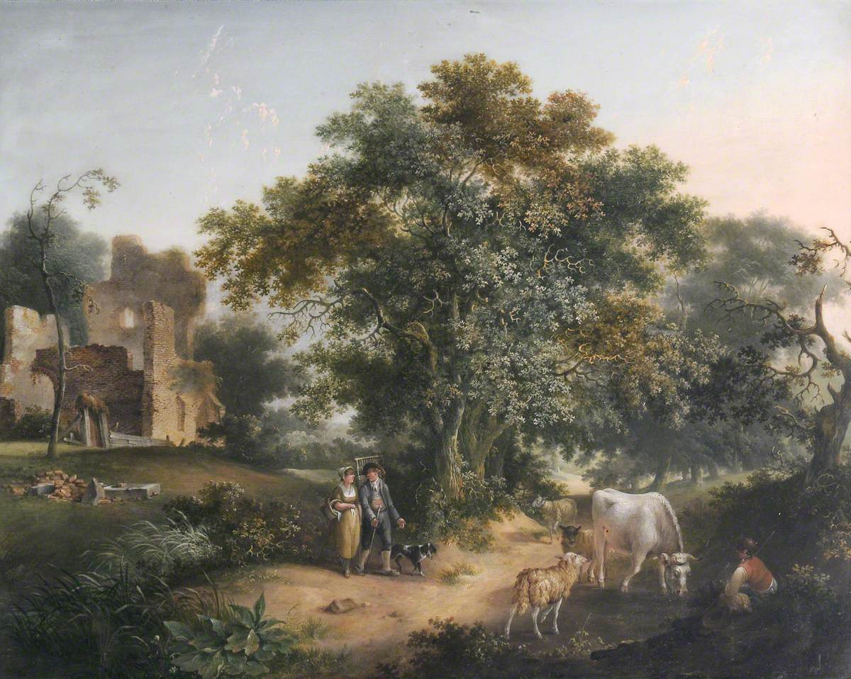 Figures, Cattle and Sheep in a Wooded Landscape