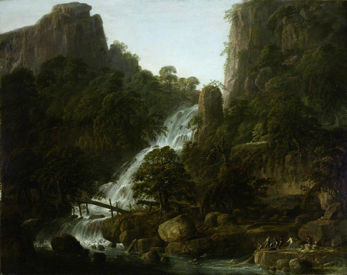 Landscape with a Waterfall between Cliffs with Peasants Netting Fish in the Foreground