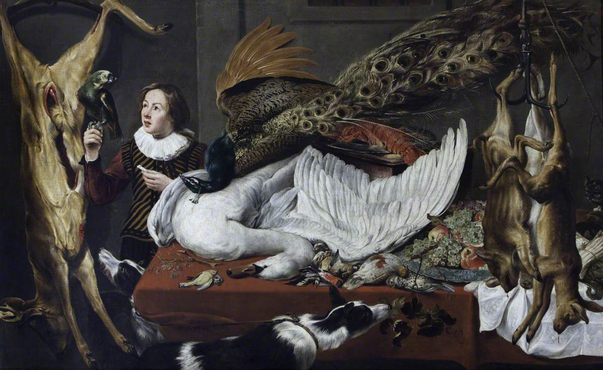 Game Larder Still Life: Hung Game, with a Swan and a Peacock on a Table, and a Page Holding a Parrot