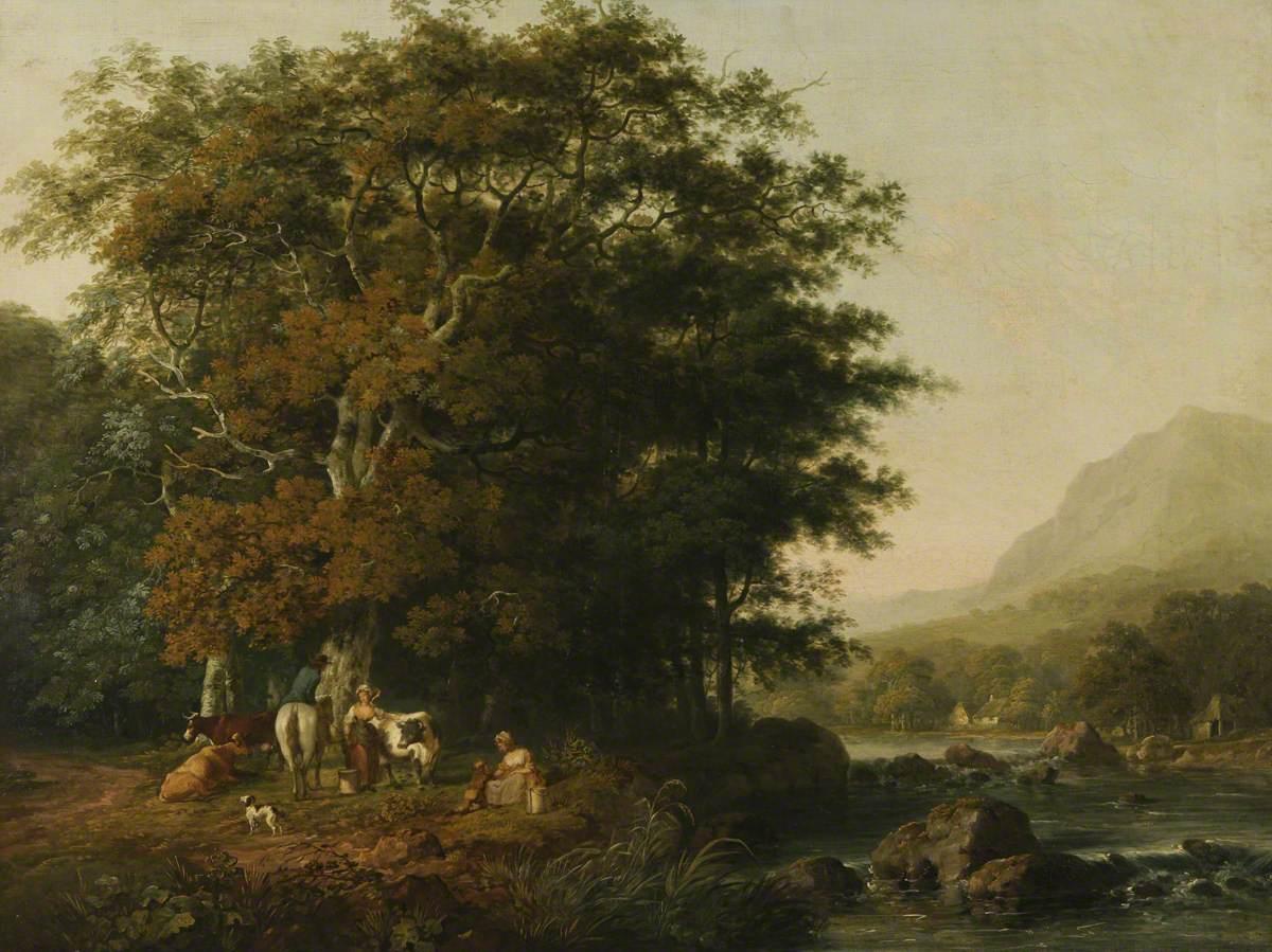 Milkmaids in a Welsh Landscape