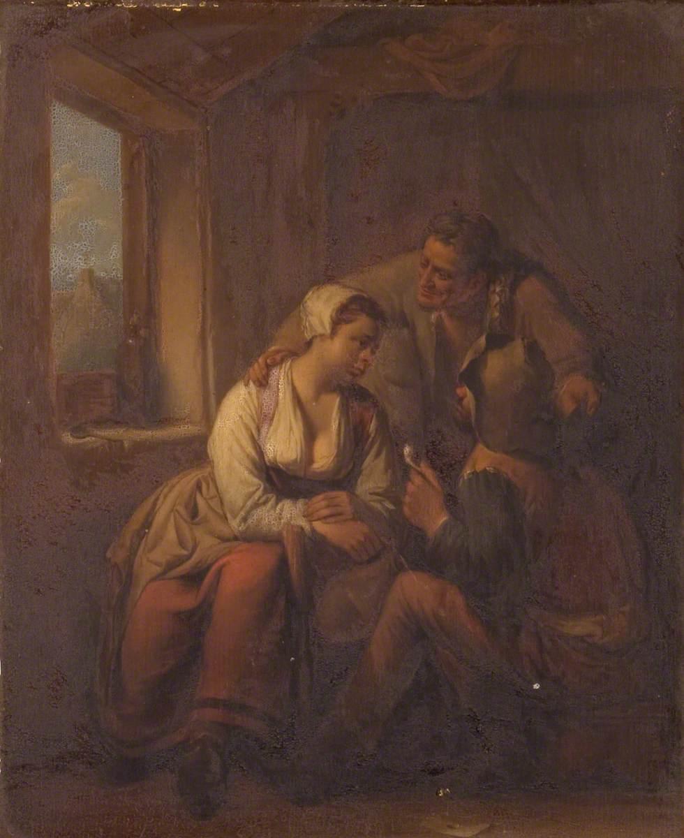 Three Peasants Conversing near a Window