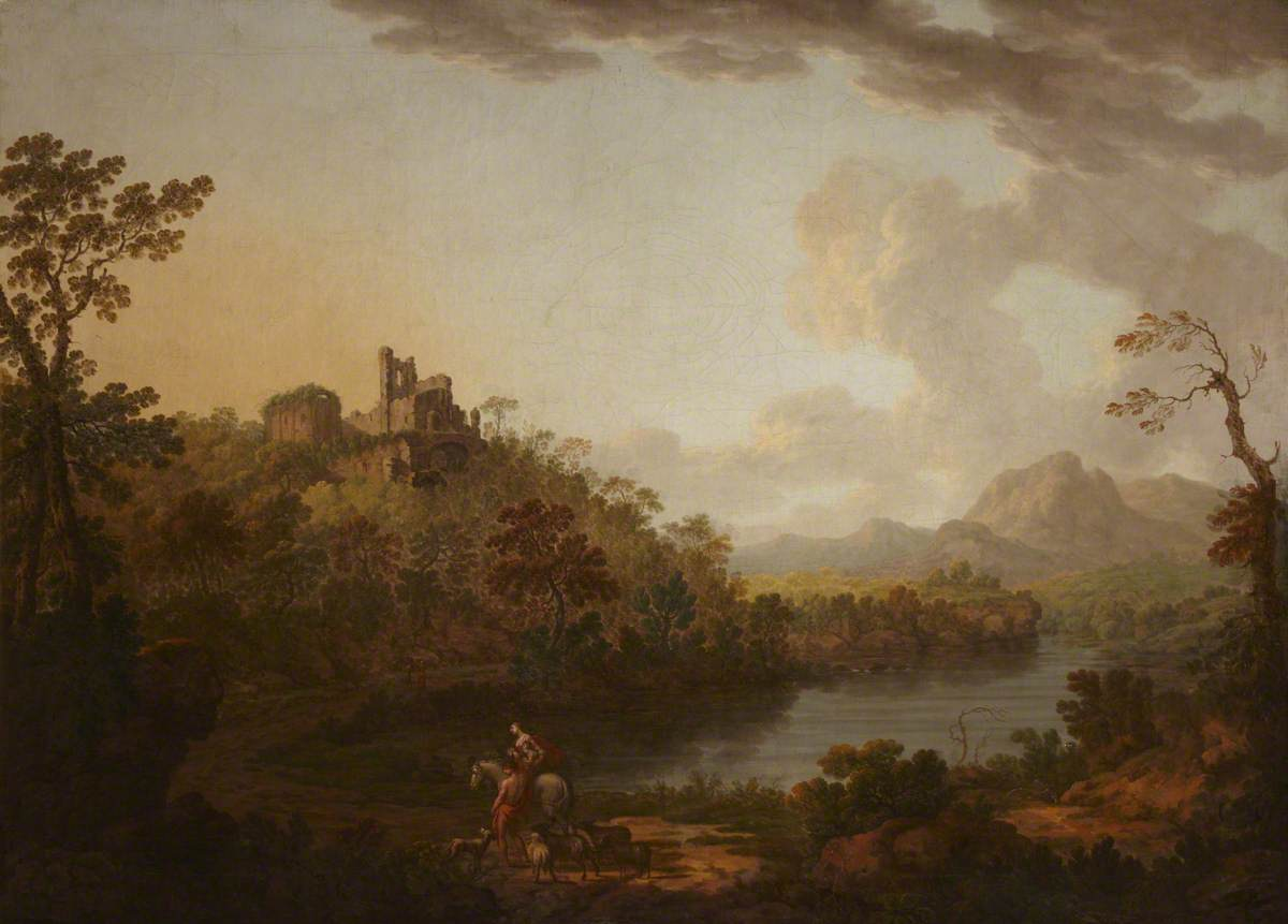 Ruined Castle on a Hill by a River