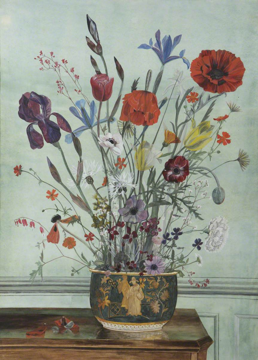 Poppies, an Iris and Other Flowers in a Bowl on a Table