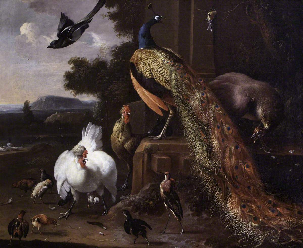 Peacocks and Farmyard Fowls with a Magpie in a Landscape