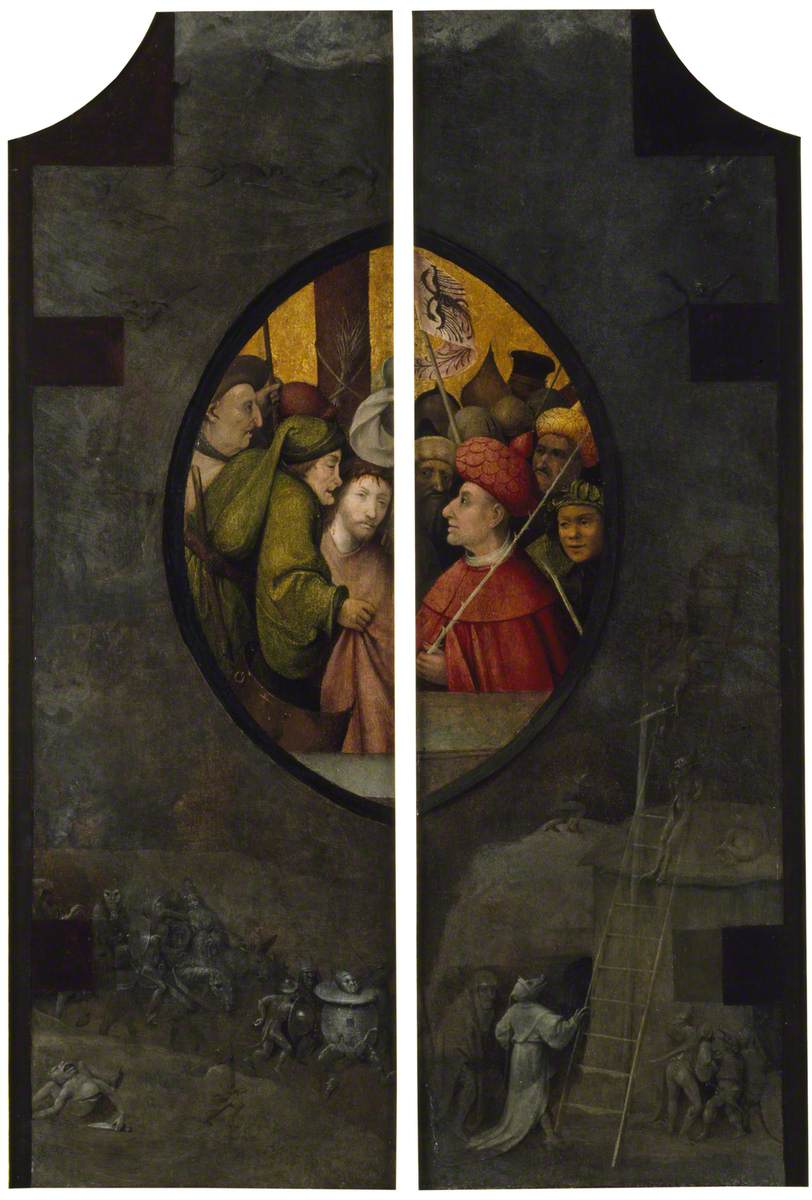 Christ before Pilate, Set within Grisailles of the Forces of Evil
