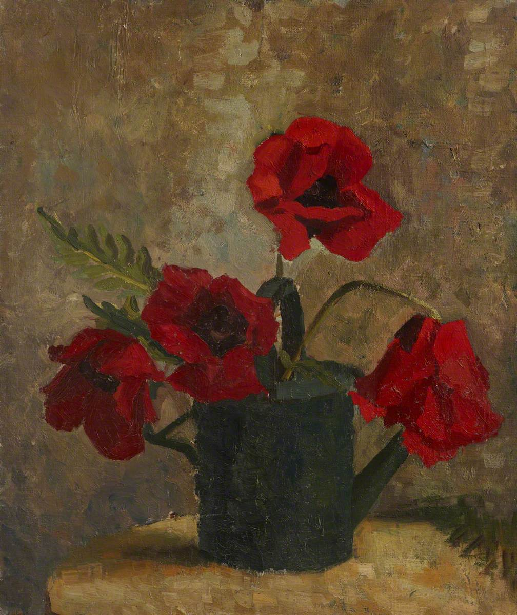 Still Life of Poppies in a Watering Can