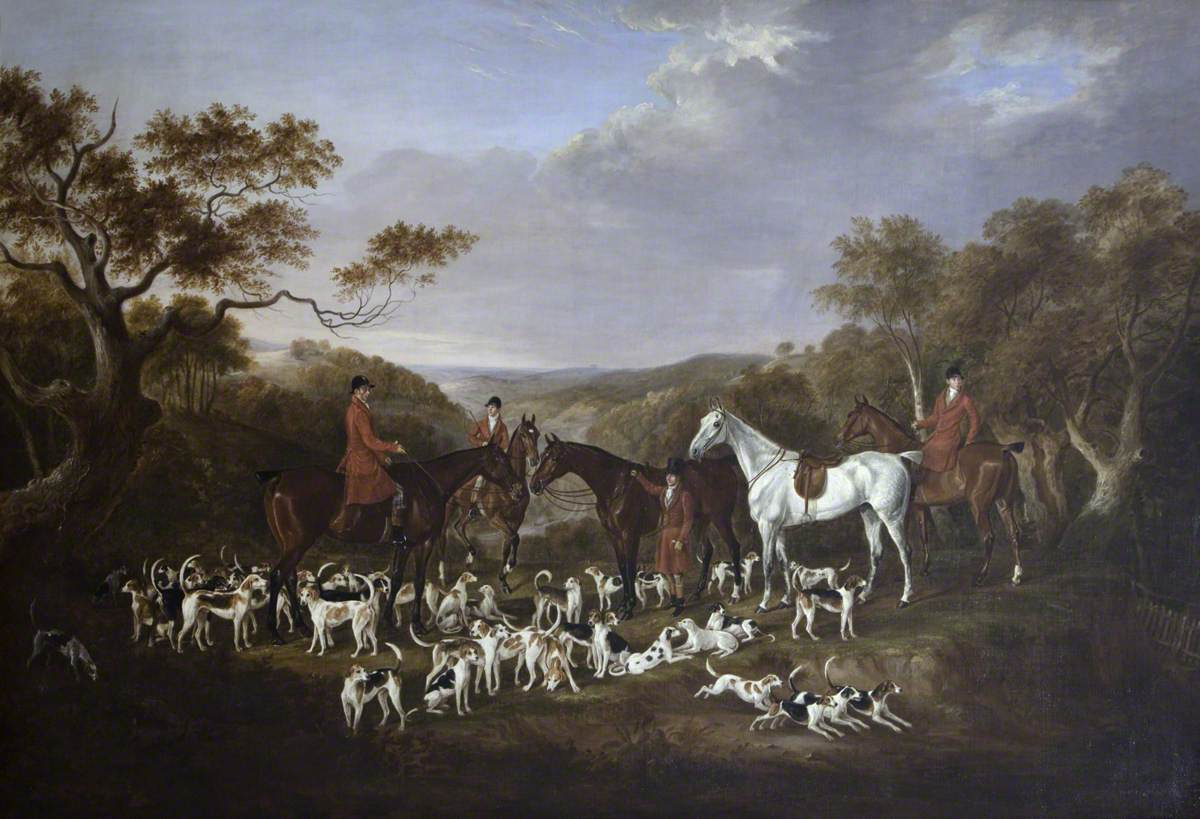 Lord Anson's Hunt at a Meet in Wooded Country