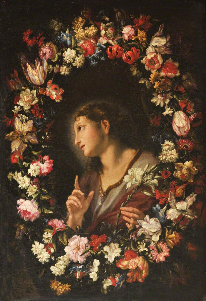 The Angel of the Annunciation in a Garland of Flowers