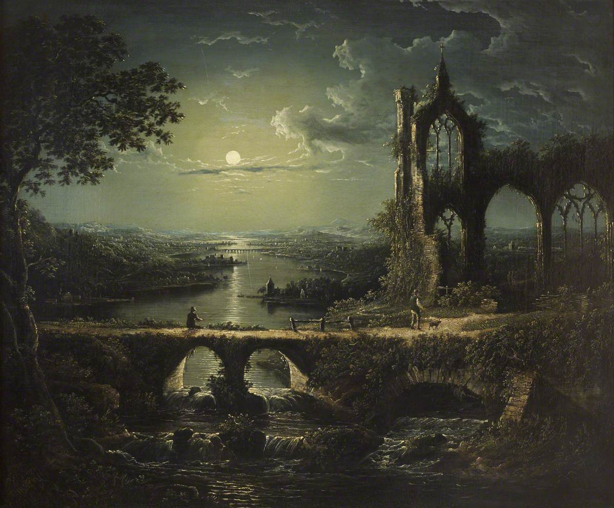 Moonlit River Scene with a Ruined Gothic Church, and a Stone Bridge with an Angler