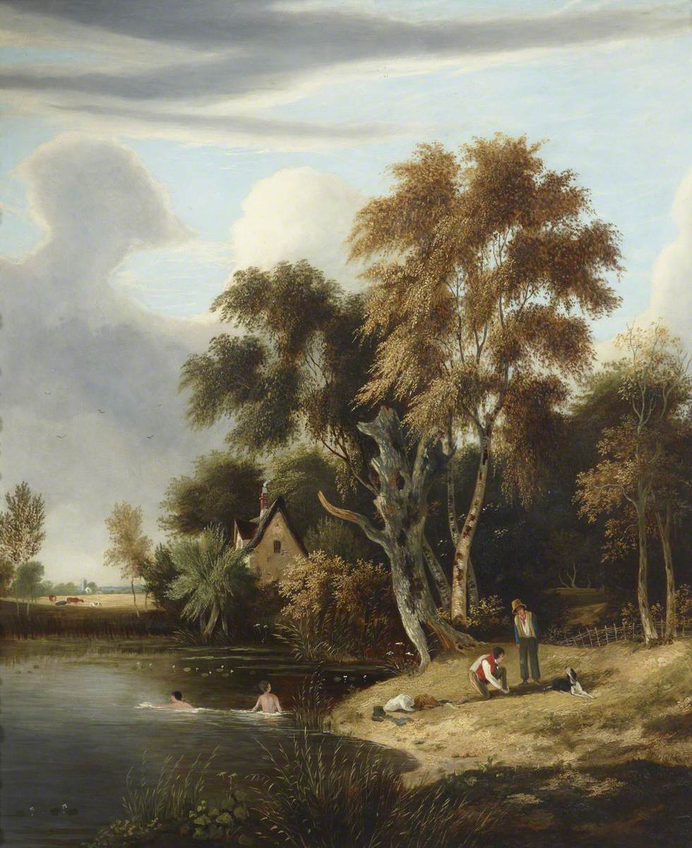A Cottage by a Pond, with Figures Swimming and on the Bank