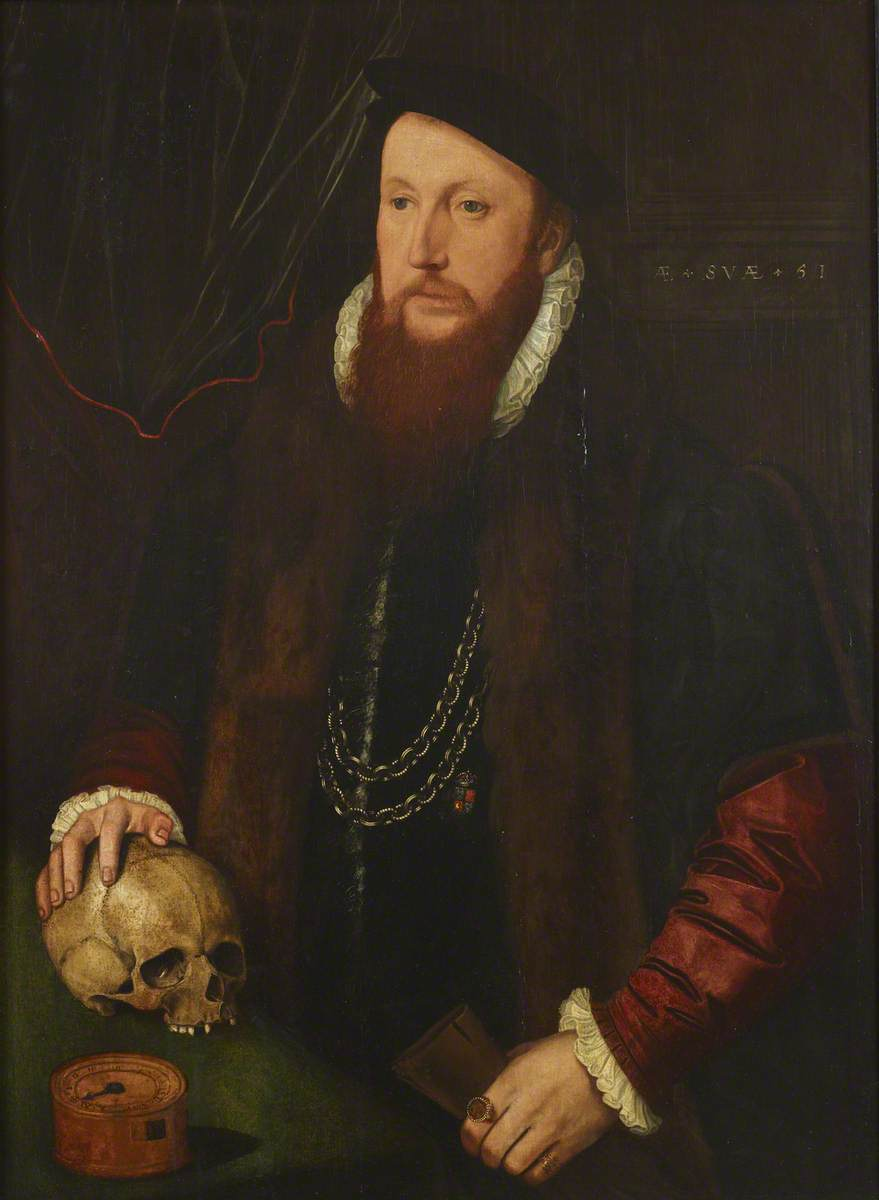 William Ffytch (c.1496–1578), with his Hand on a Skull, aged 51