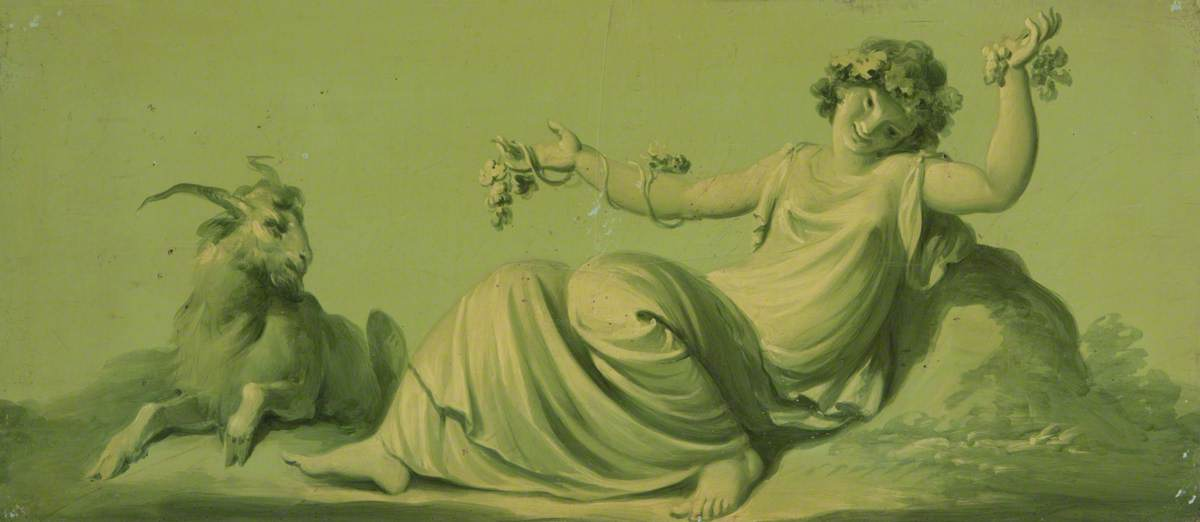 One of a Set of 16 Mythological Panels, Painted in Shades of Green: A Bacchante and a Goat