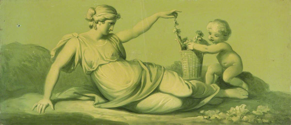 One of a Set of 16 Mythological Panels, Painted in Shades of Green: A Reclining Female, with a Putto and a Garland