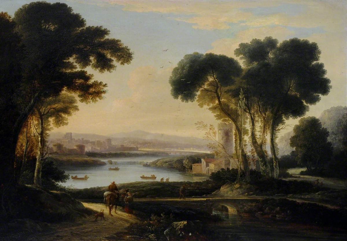 A Romantic River Landscape with Ships