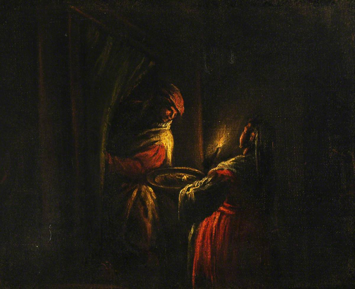 Figures in a Candlelit Interior