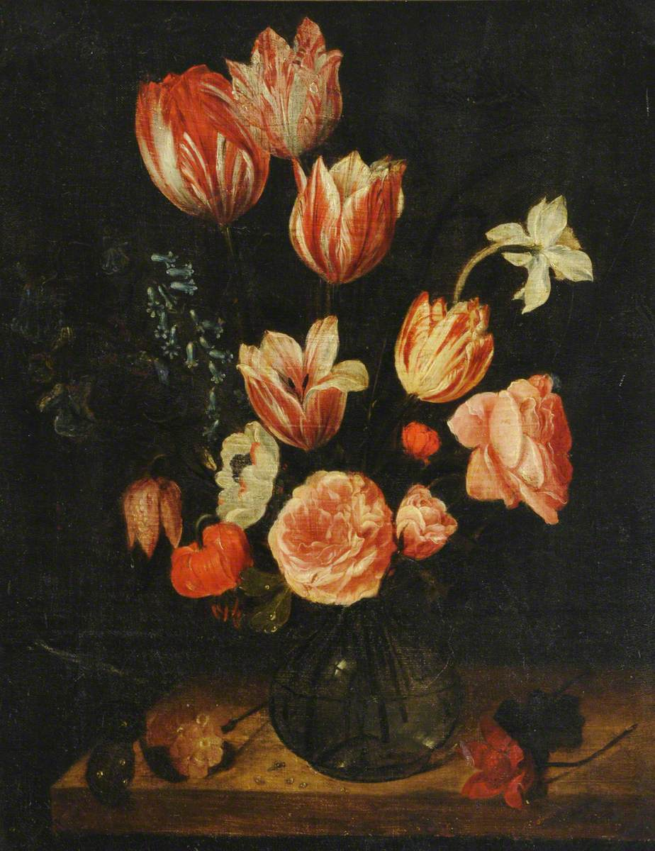 Tulips and Other Flowers in a Glass Bowl