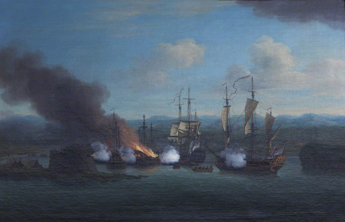 The Destruction of Two Sallee Rovers by the 'Rose' and the 'Shoreham' in Mogador Bay, 1734