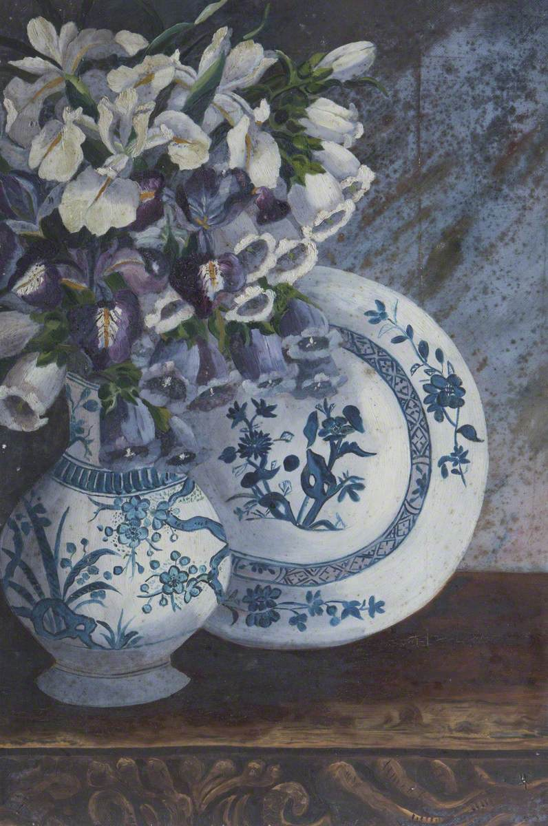 Irises, Orchids and Foxgloves in a Chinese Vase with a Chinese Plate