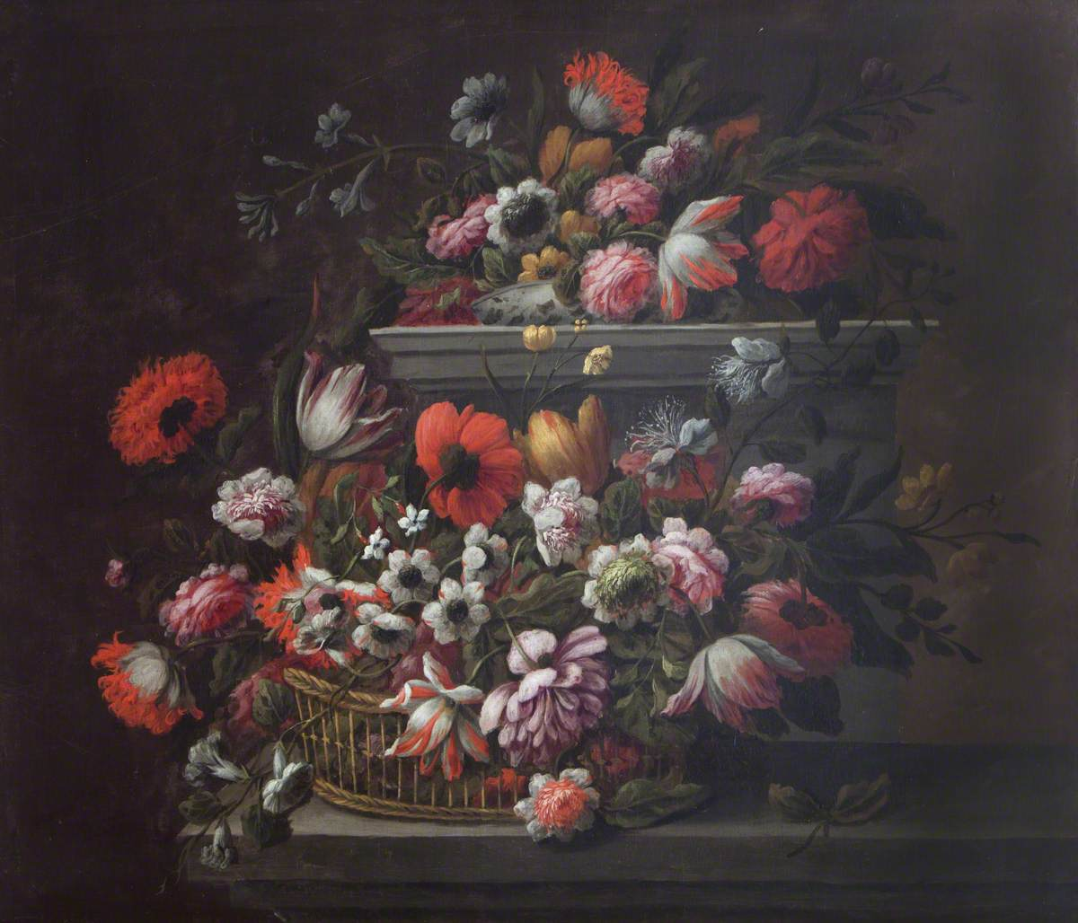 Tulips, Poppies, Roses and Other Flowers in a Basket, and a Porcelain Bowl