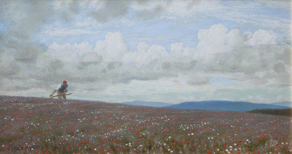 A Man Scything in a Field of Poppies